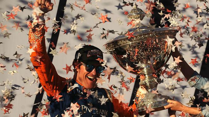 Scott Dixon talks after his Indy Car victory