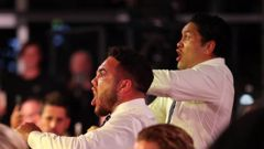 Issac Luke and Jazz Tevaga of the Warriors performs a haka for team mate Roger Tuivasa-Sheck of the Warriors after he received the Dally M Award. Photo / Getty