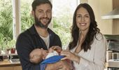 Clarke Gayford and Jacinda Ardern with Baby Neve. Photo / NZ Herald