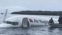 Plane overshoots runaway, ends up into ocean
