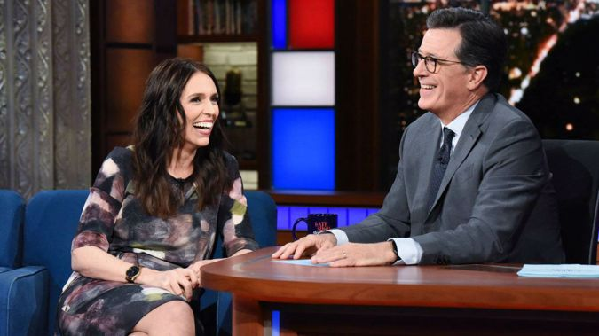Jacinda Ardern showed a deft sense of humour on theLate Showwith Stephen Colbert. Photo / Supplied