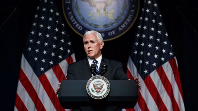 "Pence said Beijing's actions add up to a simple message: ""China wants a different American president."" Photo / AP"