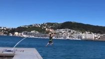 Man breaks waterfront sculpture in Wellington after scaling it