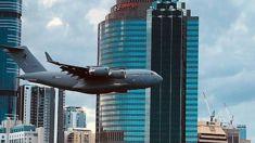 Terrifying moment plane flies towards buildings in Australia