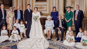 Princess Eugenie's wedding photos show her mother posing with the Queen for the first time in decades. (Photo / Supplied)