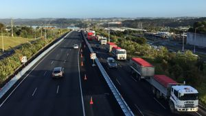 30 truck drivers are taking part in the protest. (Photo / Newstalk ZB)