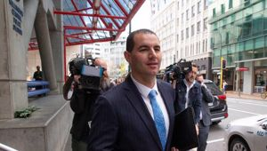 Jami-Lee Ross leaves Wellington Central Police Station yesterday after lodging a complaint alleging donor fraud.