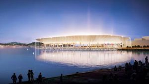 Artist's impression of the proposed Auckland Waterfront Stadium sunken stadium. Photo / Supplied