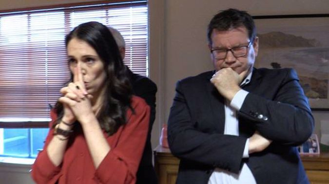 Clarke Gayford showing Labour leader Jacinda Ardern and her deputy Grant Robertson awaiting a statement from NZ First leader Winston Peters. Photo / via Twitter