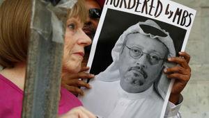 Protests over the death of Saudi journalist Jamal Khashoggi. Photo / AP