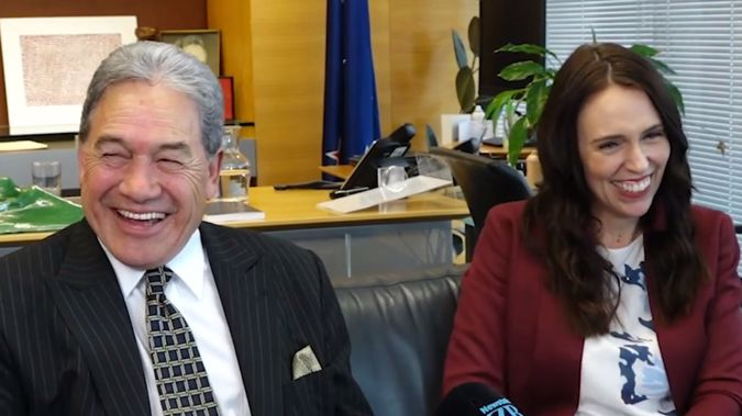 New Zealand First leader Winston Peters with Prime Minister Jacinda Ardern,