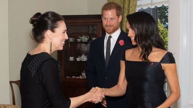 Prince Harry and Meghan Markle meet Prime Minister Jacinda Ardern, Photo / Pool