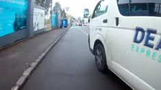Van caught on camera swerving into path of cyclist
