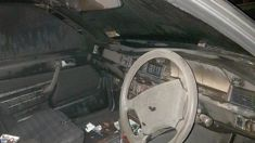 Interior of Mercedes Benz burnt out after being hit by stray firework