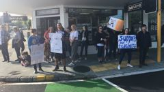Teachers have been striking in Auckland today in the first of rolling strikes around the country. (Photo / ZB)