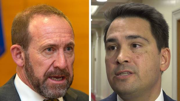 Simon Bridges, right, should avoid repeating Andrew Little's mistake of 2015. (Photos / File)