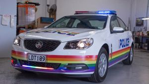 A police car painted in rainbow colours. Photo / Supplied