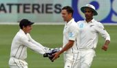 Trent Boult celebrates one of his four wickets against Pakistan. (Photo / Photosport)
