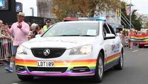 A rainbow police car. Photo / Getty Images