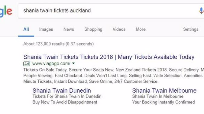 Search Google for concert tickets to any high profile act or sports event, and often a Google Ad for Viagogo will top the results.