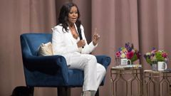Former first lady Michelle Obama speaks at Barclays Centre in New York. Photo / AP
