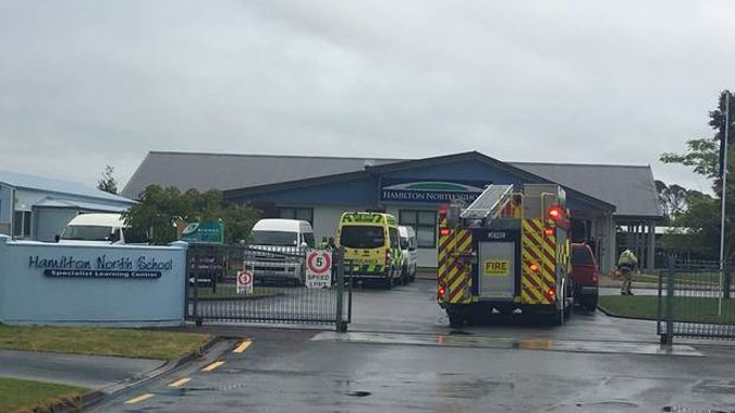 Emergency services were at Hamilton North School on Monday afternoon after a lightning strike hit the school. (Photo / Nikki Preston)