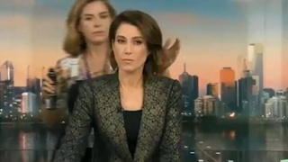 Watch: Newsreader snaps at hairstylist after being caught live on air