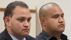 Zen Pulemoana, (left), and Mikaere Hura are sentenced in relation to the deaths of Raymond Fleet and James Fleet in the High Court at Rotorua today. Photo / Ben Fraser