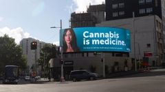 The nation's first cannabis billboard has a message some may find confronting. (Photo / Supplied)