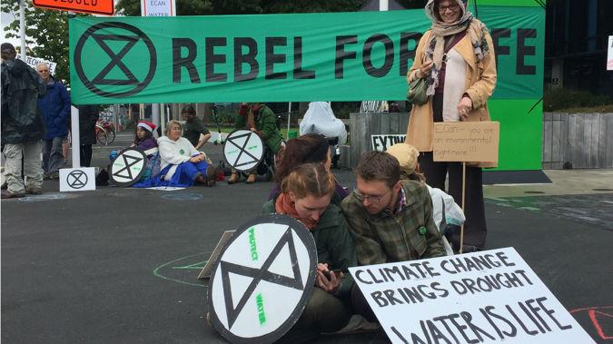 Environment Canterbury protest. Photo / NewstalkZB