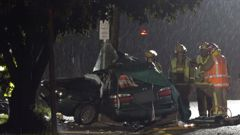 One person died shortly after midnight after a car hit a power pole in the Auckland suburb of Green Bay. (Video /VMP)