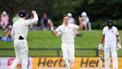 Trent Boult of New Zealand celebrates after dismissing Suranga Lakmal of Sri Lanka. (Photo / Getty)