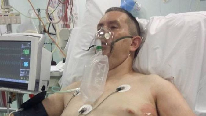Jamie Cunningham is recovering at Southland Hospital after being attacked by a stingray at Oreti Beach. Photo / Supplied