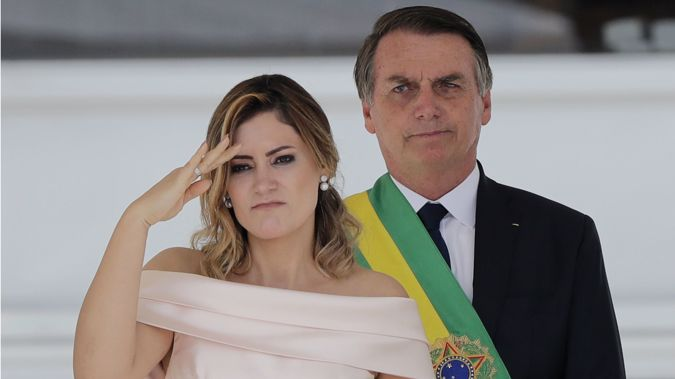 Brazil's new President Jair Bolsonaro with his wife Michelle at his inauguration. (Photo / AP)