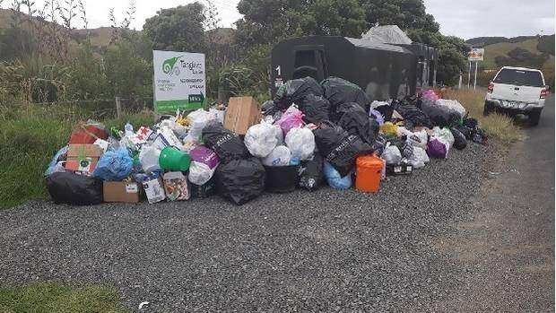 People have piled up refuse at Colville on the Coromandel Peninsula rather than paying $2 to have it squashed. (Photo / Supplied.)