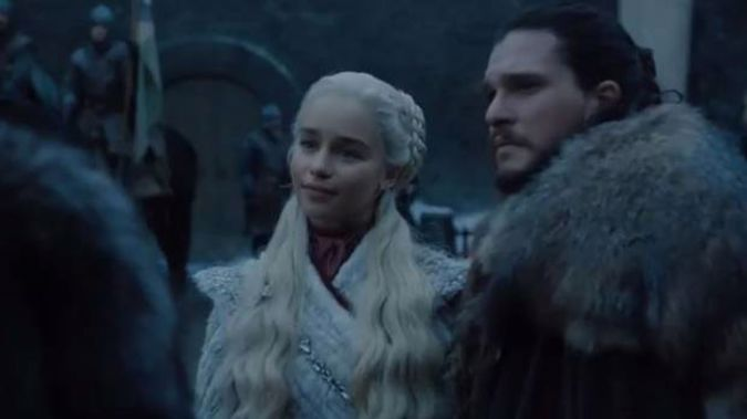 Emilia Clarke and Kit Harington in the new teaser for Game of Thrones' final season. Photo / HBO