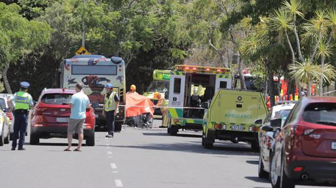 Emergency services at the scene of the crash between a bus and a car. Photo / Michael Craig