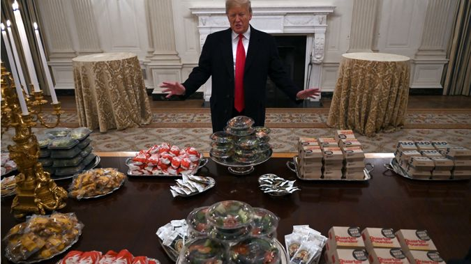Donald Trump spoke to media as he showcased the fast food buffet. (Photo / AP)