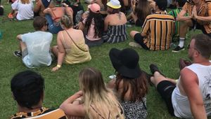 The orange stripey shirts have been seen at Australian music festivals. (Photo / Instagram - James Anthony)