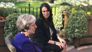 Jacinda Ardern met Theresa May last year. (Photo / Pool)