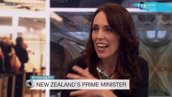 "The PM says she will leave partner Clarke Gayford go through ""the pain and torture"" of having to agonise about the question of popping the question himself. (Photo / BBC)"