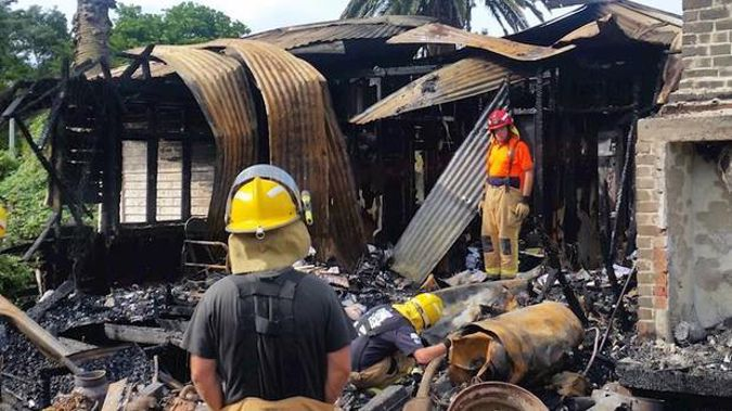 The Kawakawa Bay home was completely destroyed by the fire. Photo / Givealittle