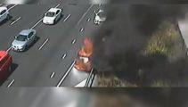 Flaming car blocking lanes on Auckland's motorway