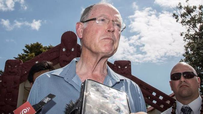 Don Brash speaks to media after his speech at Te Tii Marae. Photo / Michael Craig