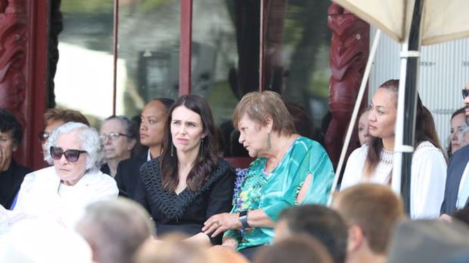 Prime Minister Jacinda Ardern and Naida Glavish at Te Whare Ruanga Marae for the Waitangi Day celebrations. Photo / John Stone