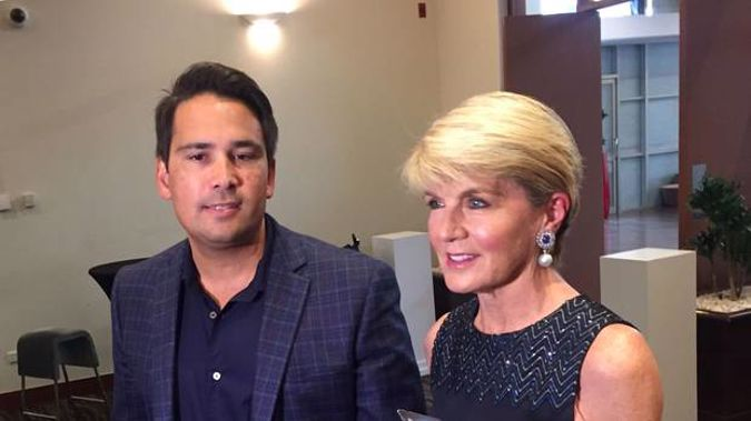 National leader Simon Bridges and former Australian Foreign Minister Julie Bishop speak to media at the National Party caucus retreat in Hamilton. (Photo / Derek Cheng)