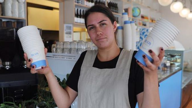 Bailey Dewar from Buoy Cafe said it was logical that takeaway cups were for customers taking away. (Photo / Doug Sherring)