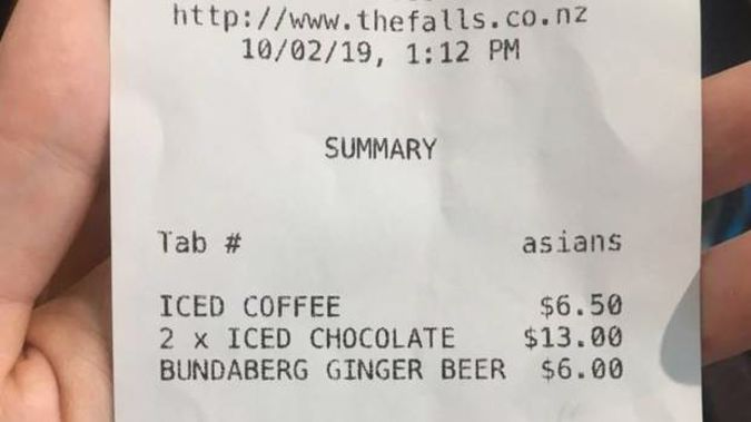 """A waiter at Falls Restaurant & Cafe in West Auckland had written """"Asians"""" to identify a group on Sunday, and then provided it to the group. Photo / Social media"""