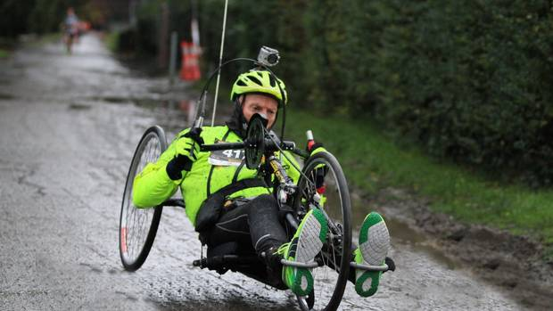 Handcyclist Ian Walker is in a critical condition after being hit from behind by a 4WD while out on a training run in rural Christchurch yesterday. (Photo / Ian Walker)
