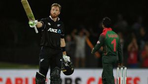 Martin Guptill scored a divisive century in Napier last night. (Photo / Getty)